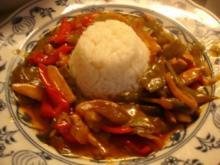 Asiatische Hähnchen-Gemüsepfanne - Rezept