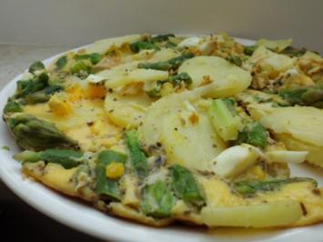 Pfannengericht: Kartoffel-Grüner Spargel-Omelett - Rezept