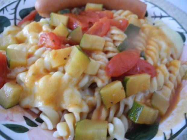Unter 30 Minuten : Fussili an Tomaten-Paprika-Soße mit Zucchini und Tomaten - Rezept - Bild Nr. 2