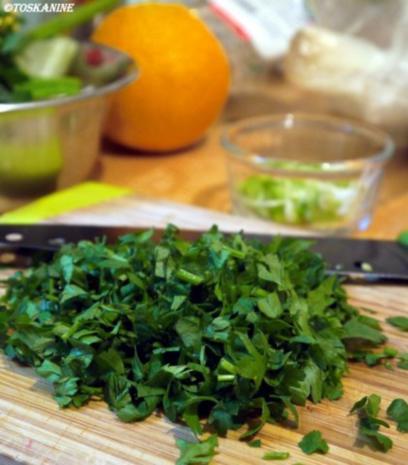 Beluga-Linsen-Salat mit glasierter Geflügelleber - Rezept - Bild Nr. 8