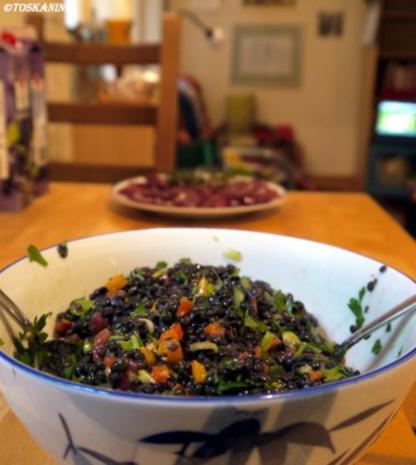 Beluga-Linsen-Salat mit glasierter Geflügelleber - Rezept - Bild Nr. 15