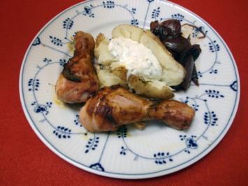 Pikante Hähnchenunterschenkel mit Backkartoffeln - Rezept