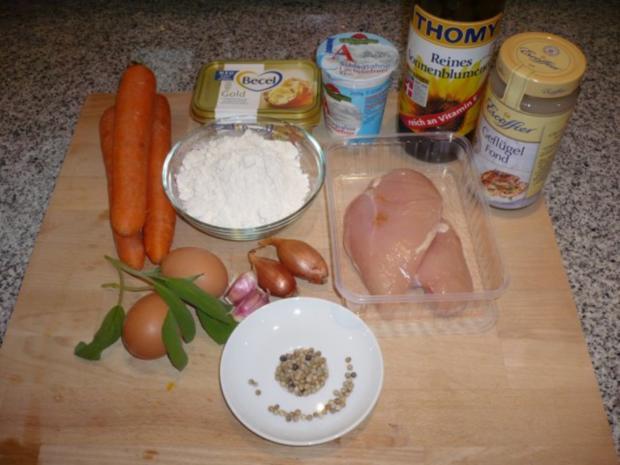Gebratene Hähnchenbrust mit weißer Pfeffersoße und Karottenquiche - Rezept - Bild Nr. 2