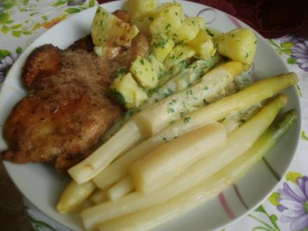 Wiener Schnitzel mit Sahnekartöffelchen und  Spargelgemüse nach Diana´s Art - Rezept