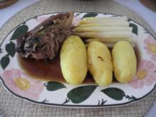 Geflügel : Putenschenkel mit Curry an Rotwein dazu Spargel und Pellkartoffeln - Rezept