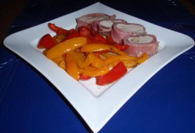 Filet im Schinkenmantel mit Paprikagemüse - Rezept