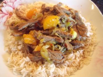 Asiatische Rinder-Mandarinen-Pfanne - Rezept