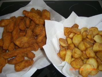 """Mini """"Wiener""""Schnitzerl mit fritierten Kartoffelspalten - Rezept"""