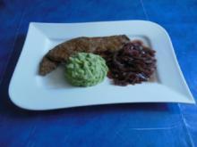 Kochen: Kalbsleber mit Kräuter-Kartoffelstampf und Rotweinzwiebeln - Rezept
