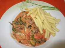 Champignons und Zuccini in Tomaten -Rahmsoße - Rezept