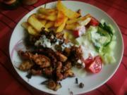 Gyros mit Tzaziki und Kartoffelspalten - Rezept