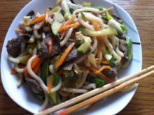 Asiatische Udon nudeln mit Rindfleisch - Rezept