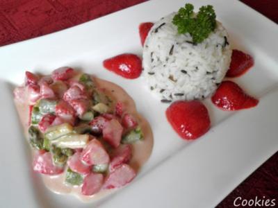 Grüner Spargel und rote Erdbeeren - ein Traumpaar  ... - Rezept