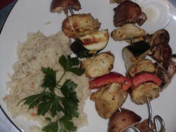 Huhn : Spieße auf dem Kohle-Grill mit leckeren Gemüsestückchen - Rezept