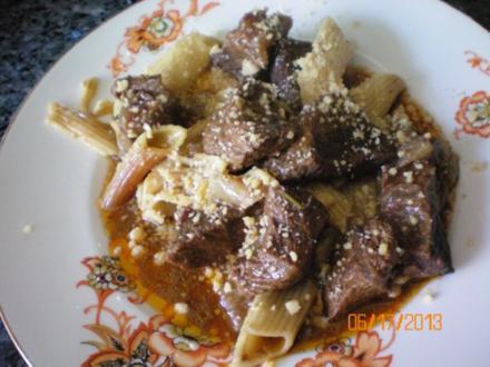 Rindfleischtopf vom Gallowayrind  mit Pasta - Rezept