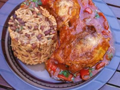 """Südafrikanisches Hühnchen """" sehr scharf """" mit rote Bohnen Reis - Rezept"""