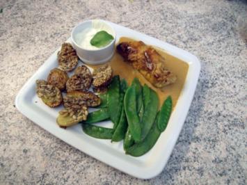 Gefüllte Hähnchenrolle mit Würzkartoffeln - Rezept