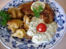 Kalbsschnitzel mit gebratenen Blumenkohl und Tatarska Omacka Sauce - Rezept