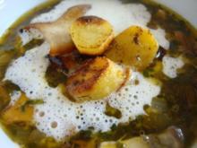 Pilzsuppe mit gerösteten Kartoffeln - Rezept