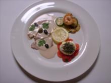Überbackener Ziegenfrischkäse auf Zucchini an Garnele und - Rezept