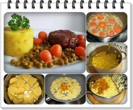 Würzige Stampfkartoffeln mit  Bulette und Gemüse dazu. - Rezept - Bild Nr. 2
