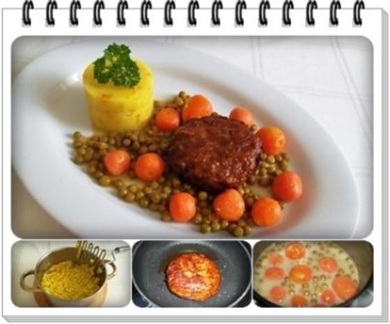 Würzige Stampfkartoffeln mit  Bulette und Gemüse dazu. - Rezept - Bild Nr. 10
