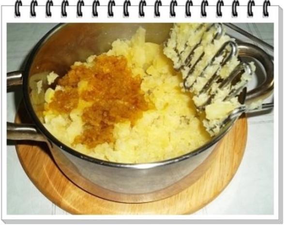 Würzige Stampfkartoffeln mit  Bulette und Gemüse dazu. - Rezept - Bild Nr. 5