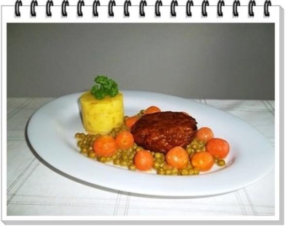 Würzige Stampfkartoffeln mit  Bulette und Gemüse dazu. - Rezept - Bild Nr. 13
