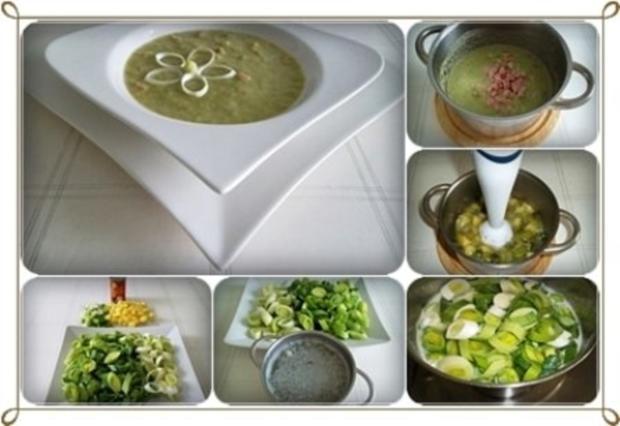 Lauch-Kartoffelcremesuppe  mit gewürfelter Wurst dazu. - Rezept - Bild Nr. 3