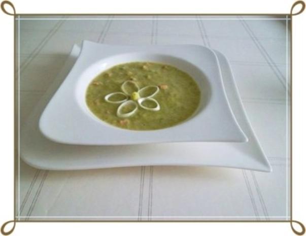 Lauch-Kartoffelcremesuppe  mit gewürfelter Wurst dazu. - Rezept - Bild Nr. 2