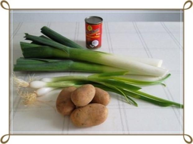 Lauch-Kartoffelcremesuppe  mit gewürfelter Wurst dazu. - Rezept - Bild Nr. 4