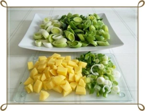 Lauch-Kartoffelcremesuppe  mit gewürfelter Wurst dazu. - Rezept - Bild Nr. 5