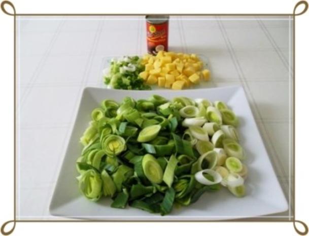 Lauch-Kartoffelcremesuppe  mit gewürfelter Wurst dazu. - Rezept - Bild Nr. 6