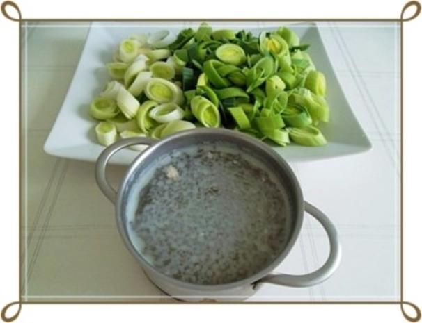 Lauch-Kartoffelcremesuppe  mit gewürfelter Wurst dazu. - Rezept - Bild Nr. 7