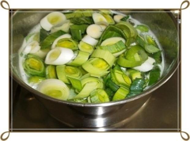 Lauch-Kartoffelcremesuppe  mit gewürfelter Wurst dazu. - Rezept - Bild Nr. 10