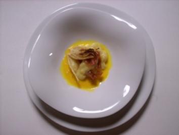 Kartoffel-Fenchel-Türmchen mit Pernodsoße und Parmaschinken - Rezept
