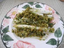 Aus dem Backofen : Spargel auf Reis-Schlagcreme mit Petersilien - Brot - Kruste überbacken - Rezept
