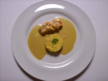 Steinbuttfilet mit Karotten-Korianderhaube, Currysoße und Couscous - Rezept