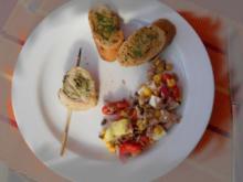 Gegrillte Putenröllchen mit Basilikumpesto - Rezept