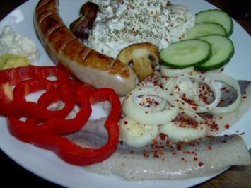"""""""Brautschau"""" - Matjes mit Bratwurst und Kartoffelsalat - Rezept"""