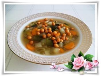 Gemüsesuppe mit Backerbse - Rezept