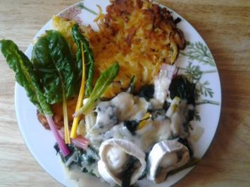 Mangold gratiniert zu Kartoffelrösti - Rezept