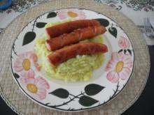 Kartoffel - Blumenkohl - Stampf mit gebratenen Würstchen - Rezept