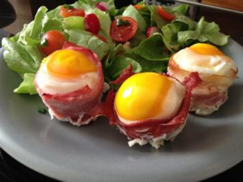 Muffin Ei in 3 verschiedenen Schinken - Rezept