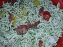 Bunter Nudelsalat mit Schinken - Rezept