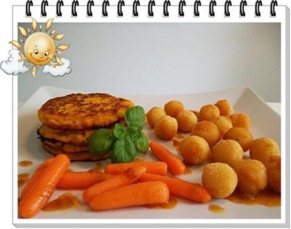 Kohlrabi-Möhre Puffer mit Baby Möhren und Kartoffelbällchen dazu - Rezept