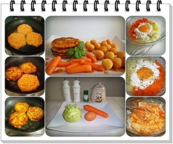 Kohlrabi-Möhre Puffer mit Baby Möhren und Kartoffelbällchen dazu - Rezept - Bild Nr. 3