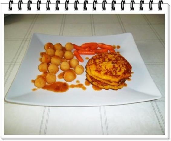 Kohlrabi-Möhre Puffer mit Baby Möhren und Kartoffelbällchen dazu - Rezept - Bild Nr. 16