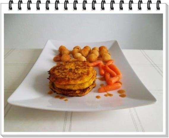 Kohlrabi-Möhre Puffer mit Baby Möhren und Kartoffelbällchen dazu - Rezept - Bild Nr. 18