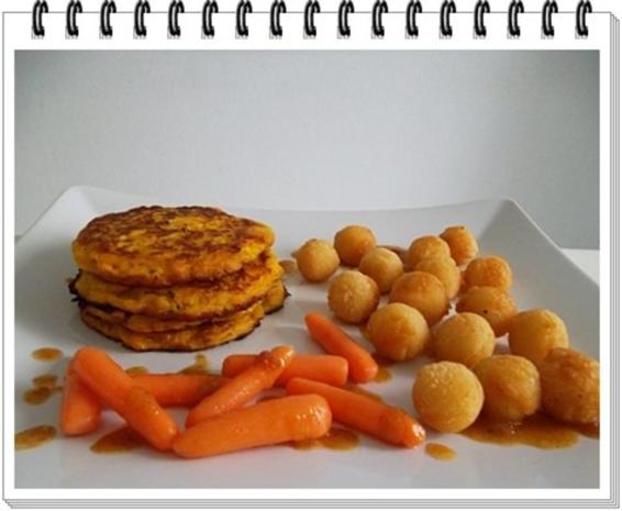Kohlrabi-Möhre Puffer mit Baby Möhren und Kartoffelbällchen dazu - Rezept - Bild Nr. 19